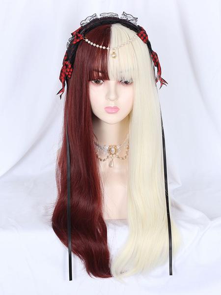 Milanoo Sweet Lolita Wigs Fringe Color Block Fiber Burgundy White Lolita Accessories