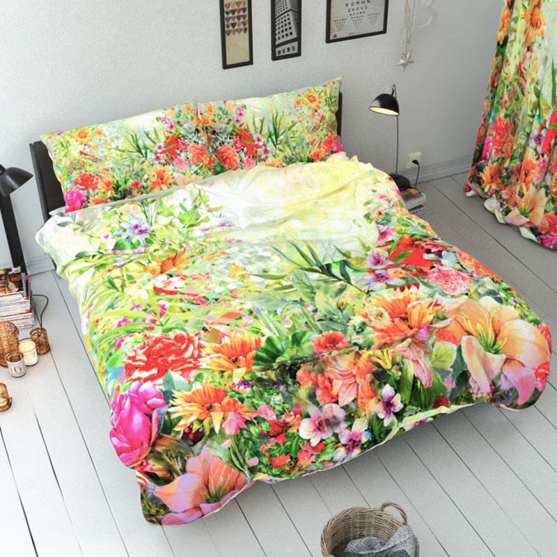Green Plants Duvet Cover Set Reactive Printing Three-Piece Set Polyester Bedding Sets
