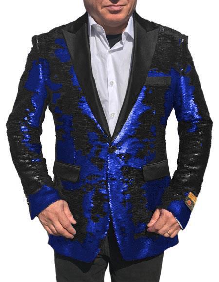 Alberto Nardoni Blue Shiny Sequin Tuxedo Black Lapel paisley jacket