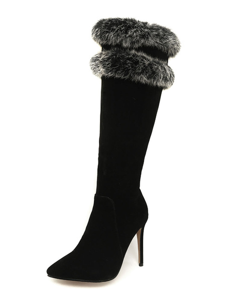 Milanoo Knee High Boots Womens Micro Suede Faux Fur Pointed Toe Stiletto Heel Winter Boots