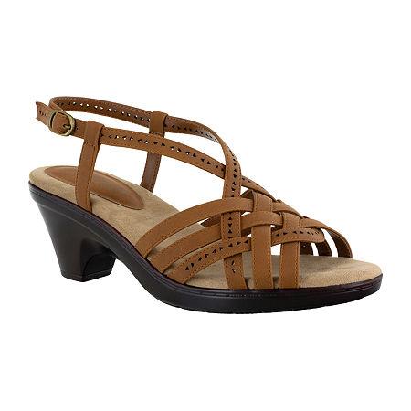 Easy Street Womens Jackson Heeled Sandals, 8 Wide, Brown