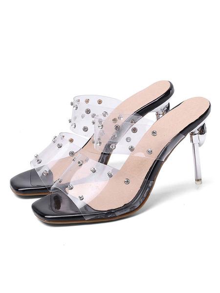 Milanoo Women\'s Transparent Clear Sandals Slippers Square Toe Open toe Rhinestones Sandal Shoes