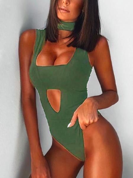 Yoins Green Cut Out Sleeveless Choker Bodysuit
