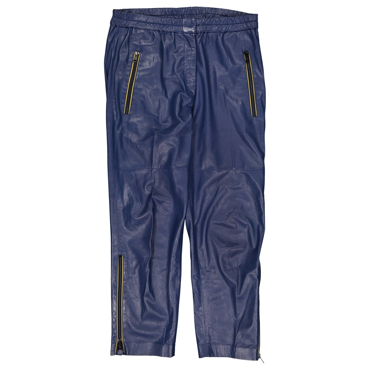 Isabel Marant \N Blue Leather Trousers for Women 40 FR