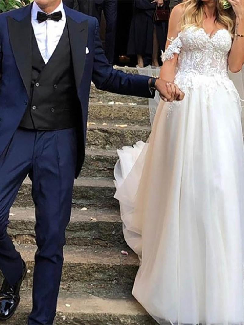 Ericdress Sweep/Brush A-Line Floor-Length Off-The-Shoulder Garden/Outdoor Wedding Dress 2020