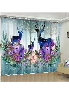 3D Cartoon Deer and Flowers Printed Polyester 2 Panels Living Room Curtain