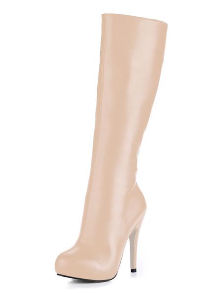 Milanoo Women Black Wide Calf High Knee boots Round Toe Zip Up High Heel Boots For Winter