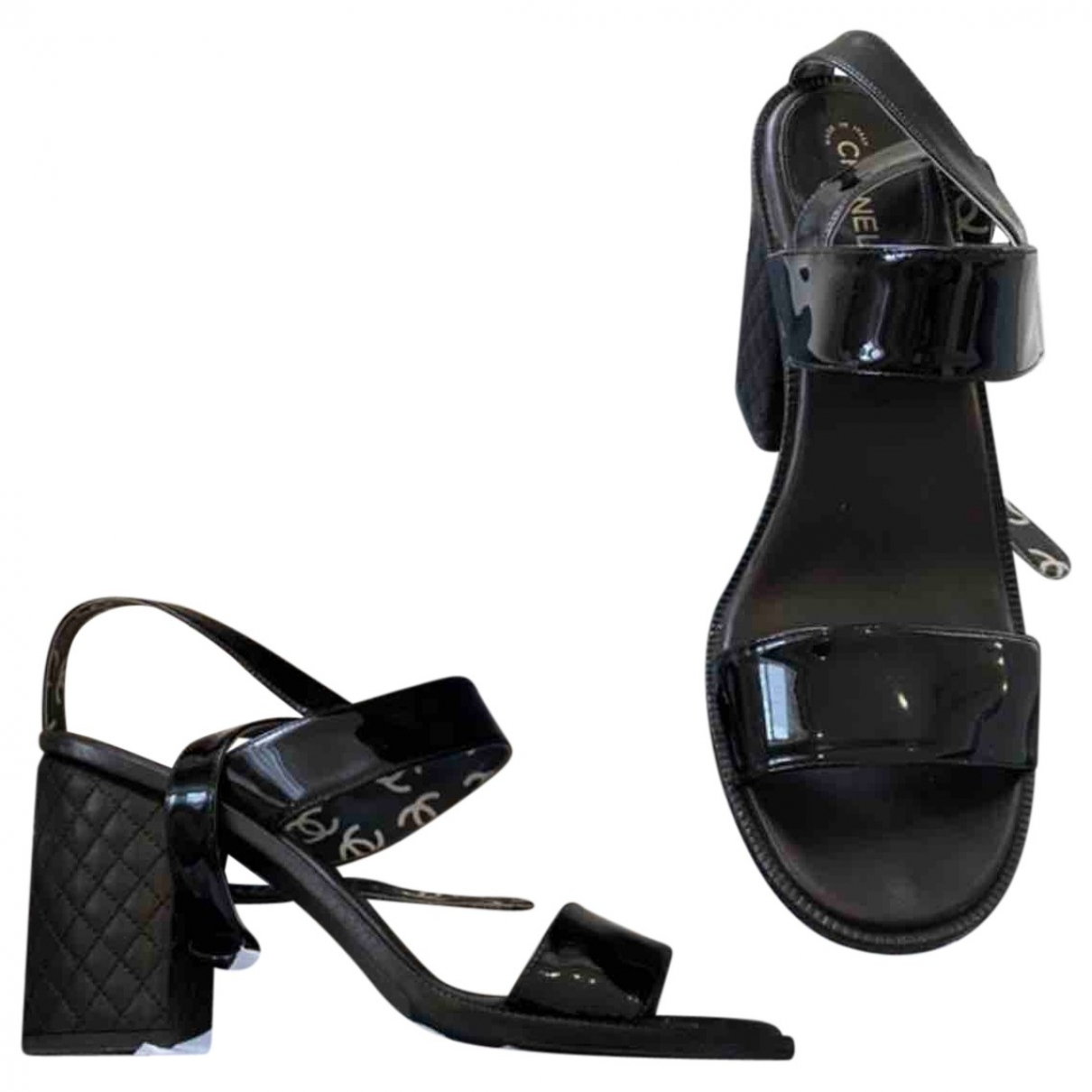 Chanel \N Black Patent leather Sandals for Women 40.5 IT