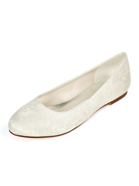 Milanoo Womens Flat Wedding Shoes White Lace Round Toe Bridal Shoes