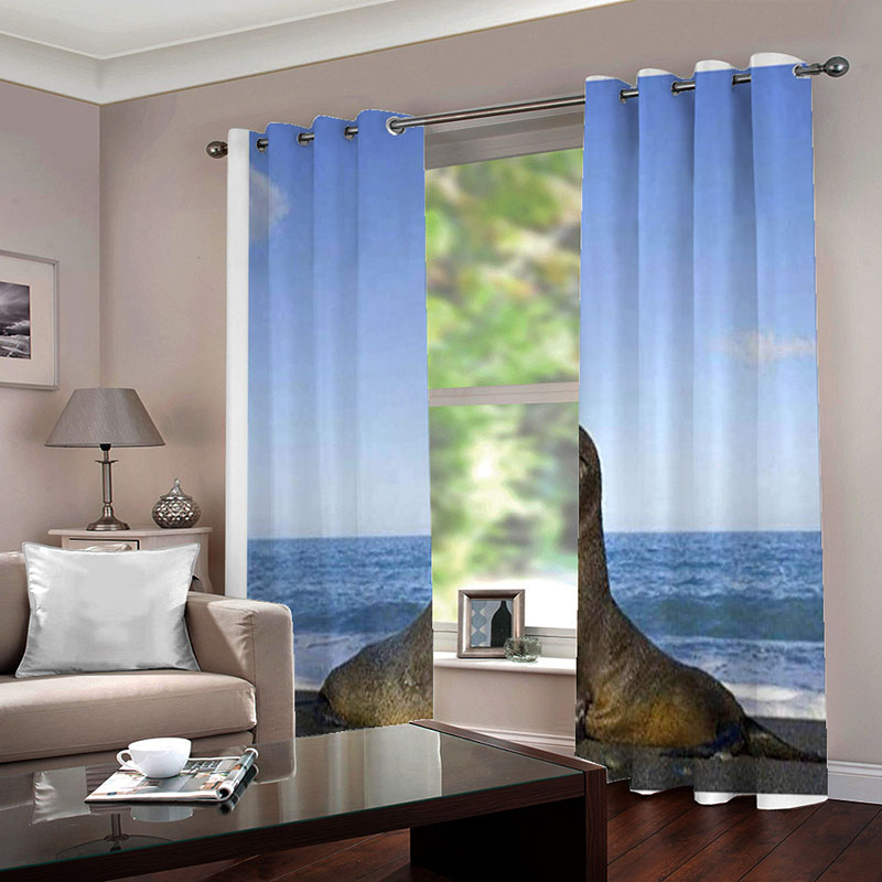 3D Digital Sea Lion Print White Blackout Curtains 2 Panel Set 80 Inches Wide and 84 Inches Physically Blocks Light Nicely Prevents UV Ray Machine Wash