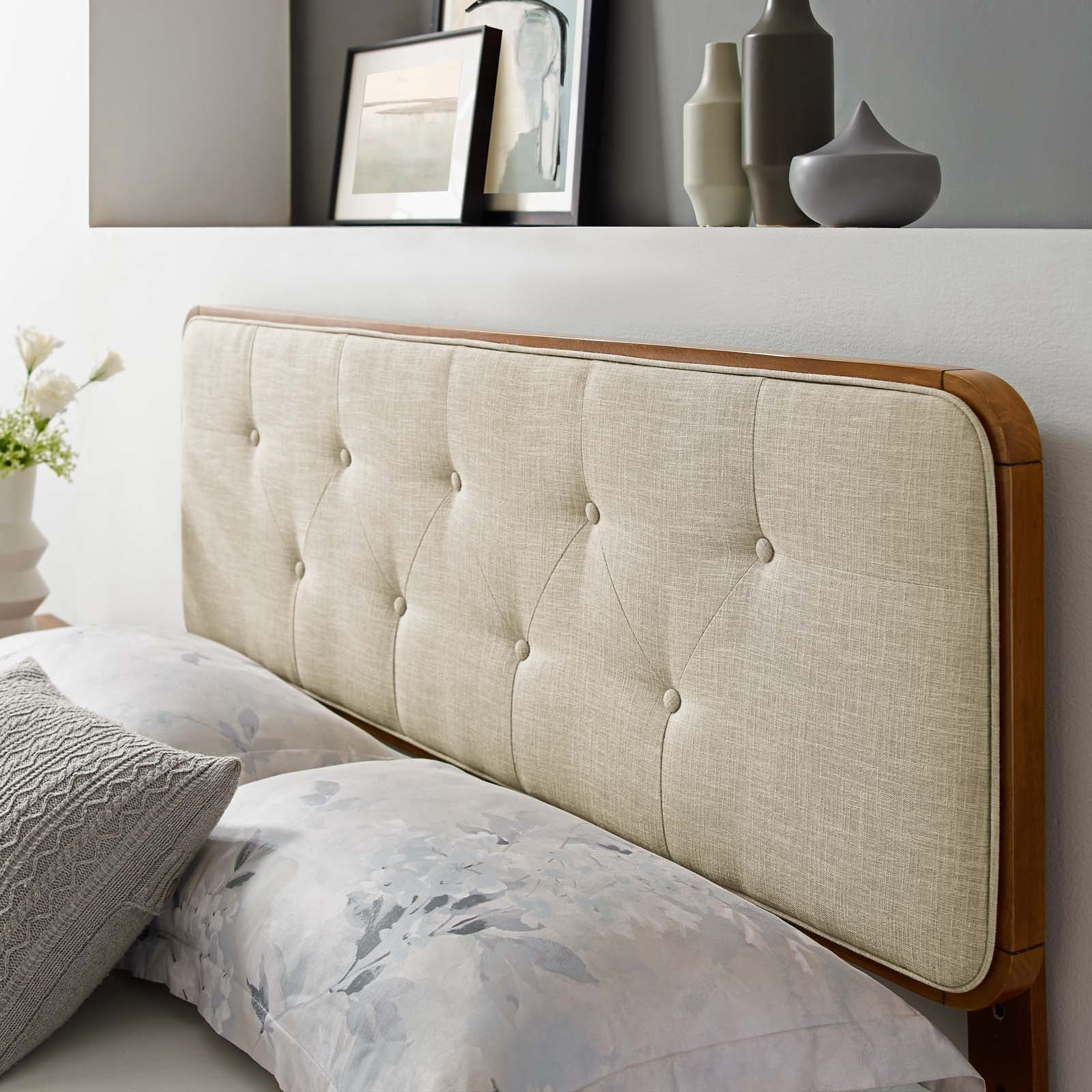 Collins Tufted Twin Fabric and Wood Headboard in Walnut Beige