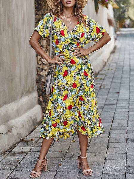 Milanoo Green Maxi Dresses Women Short Sleeves V Neck Floral Printed Lace Up Boho Dress