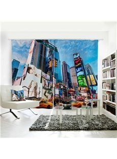 Tall Urban Architecture Pattern 3D Polyester Curtain