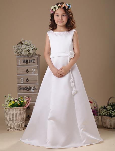 Milanoo White Flower Waist A-line Satin First Communion Dress