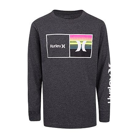 Hurley Big Boys Crew Neck Long Sleeve Graphic T-Shirt, Medium (10-12) , Gray