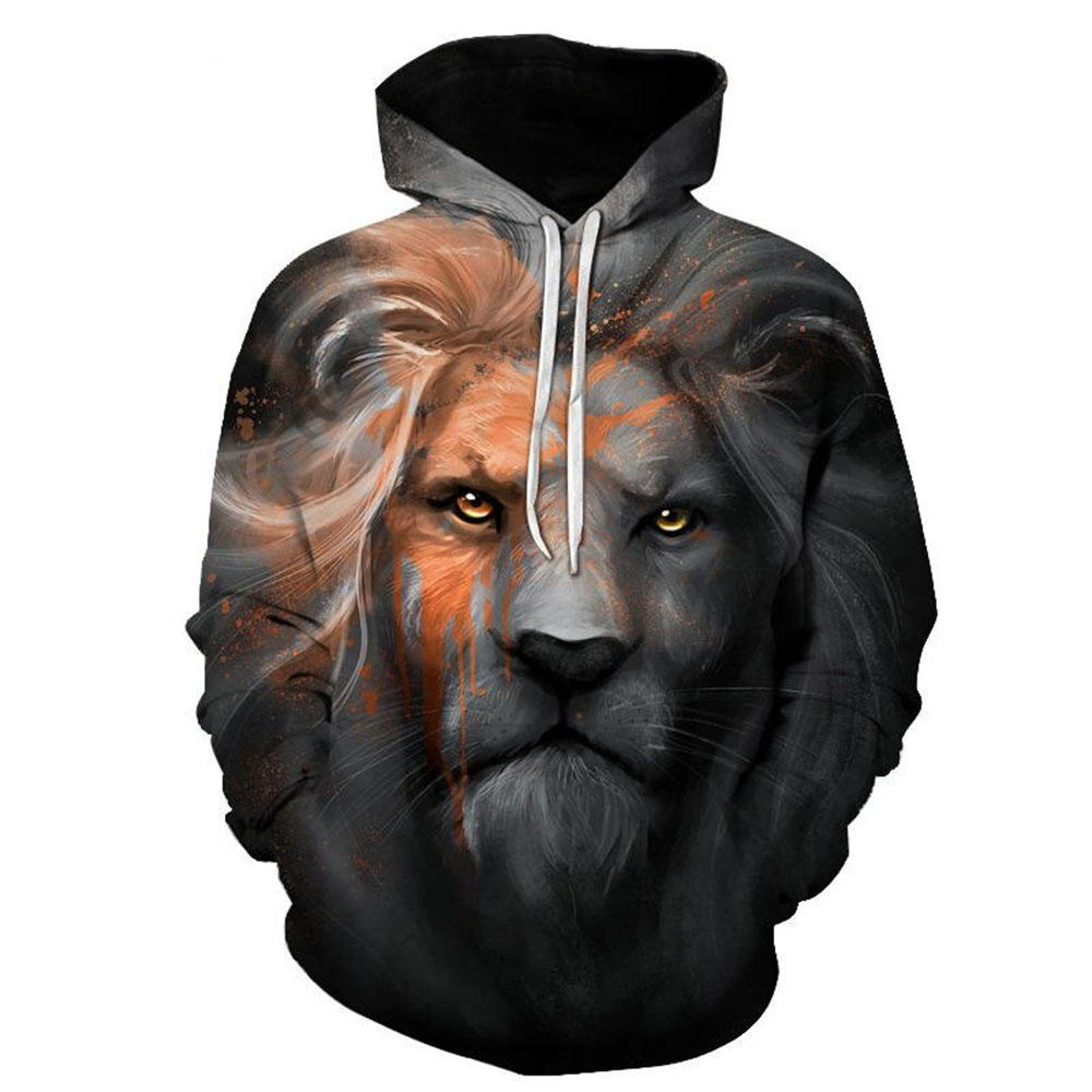 3D Vivid Lion Painted Loose Soft Long Sleeve Breathable and Durable Men's Pullover Sweatshirt Hoodies