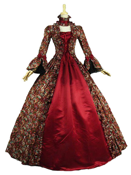 Milanoo Victorian Dress Costume Baroque Costume Lace Ruffles Printed Trumpet sleeves Vintage Viactorian era Clothing Long Party Dresses with Choker Ha
