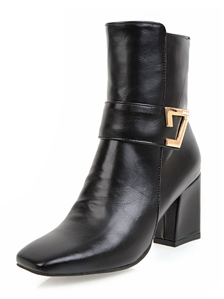 Milanoo Women Square Toe Ankle Boots Chunky Heel 2.8 Booties