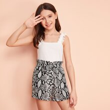 Girls Frill Strap Top & Paperbag Waist Bow Detail Snakeskin Shorts Set