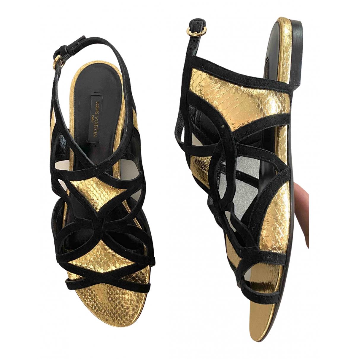 Louis Vuitton \N Gold Python Sandals for Women 38 EU