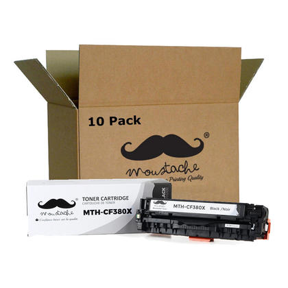 Compatible HP 312X CF380X cartouche de toner noire haute capacite - Moustache@ - 10/paquet