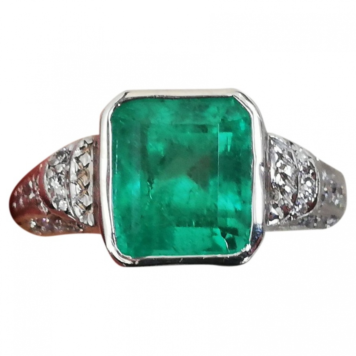 Non Signé / Unsigned Emeraude Green Platinum ring for Women 54 MM