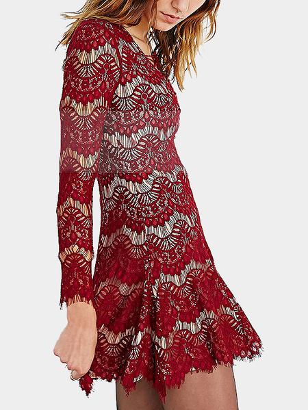 Yoins Red Eyelashes Long Sleeves Lace Mini Dress