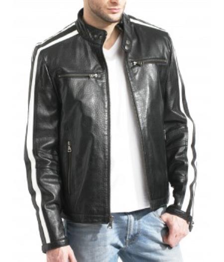 Moto With Sleeve Trim Black/White