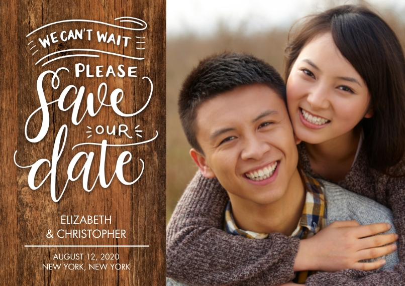 Save the Date Flat Matte Photo Paper Cards with Envelopes, 5x7, Card & Stationery -Save the Date Cant Wait