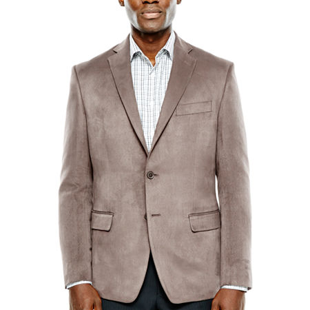 Collection by Michael Strahan Taupe Faux Suede Sport Coat-Classic, 38 Short, Beige