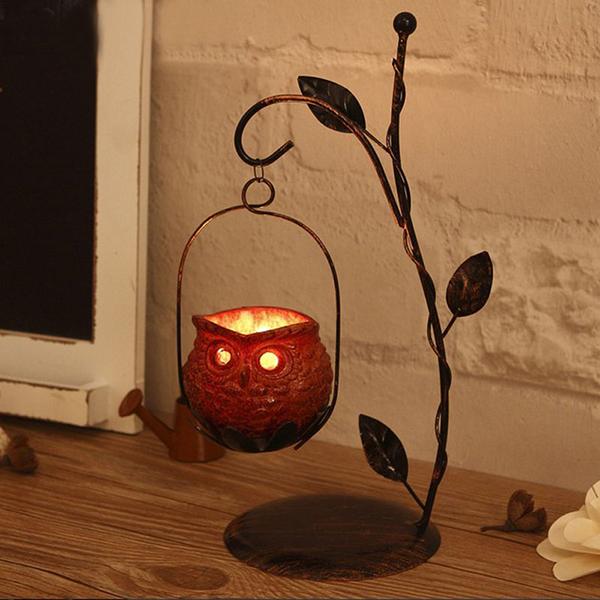 Creative Iron Artwork Owl Design Candle Holder