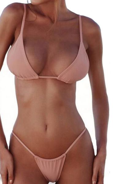 Milanoo Sexy Bikini Swimwear Straps Triangle Bikini Swimsuit Two Piece Bathing Suit