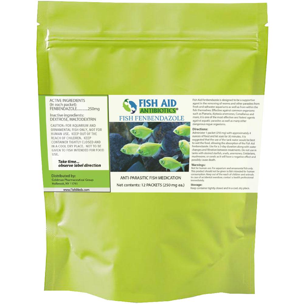 Fish Aid Antibiotics Fish Fenbendazole 12 Packets (250 mg)