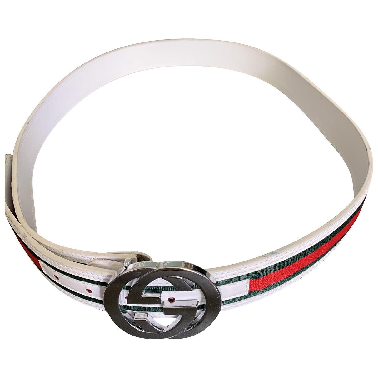 Gucci Interlocking Buckle White Leather belt for Men XL international
