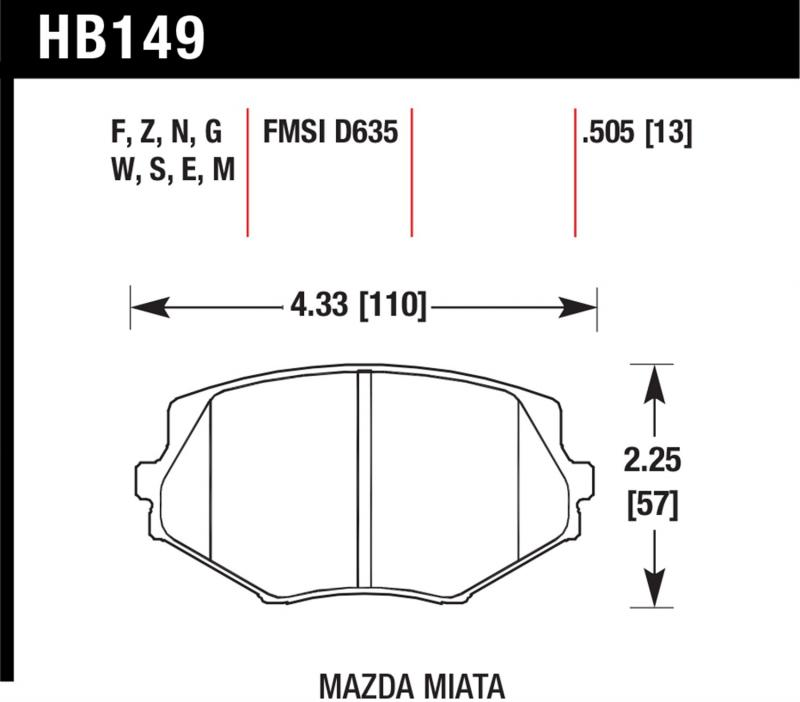 Hawk Performance HB149F.505 Disc Brake Pad Mazda Miata Front
