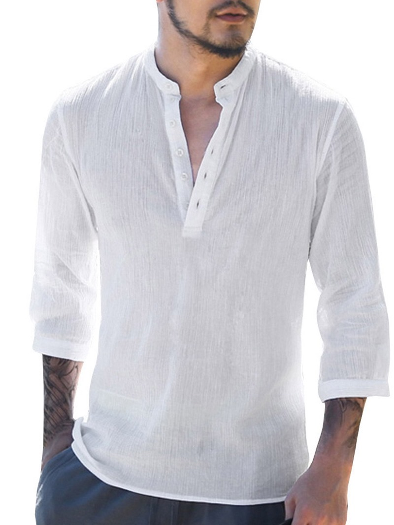 Ericdress Stand Collar Button Plain Casual Men's Slim Shirt