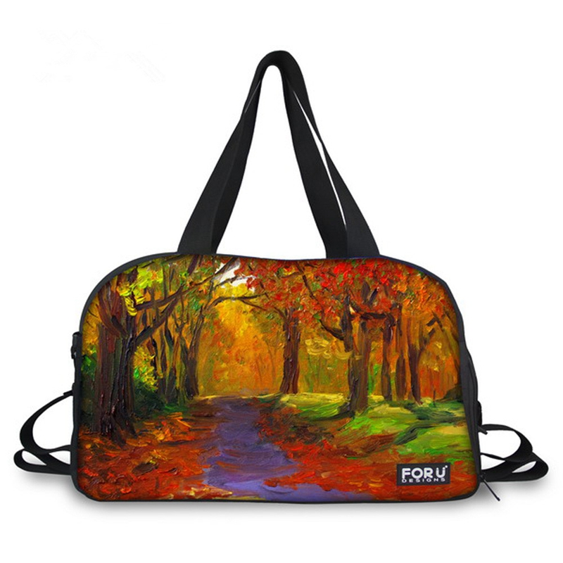 Oil Painting Style Scenery Pattern 3D Painted Travel Bag