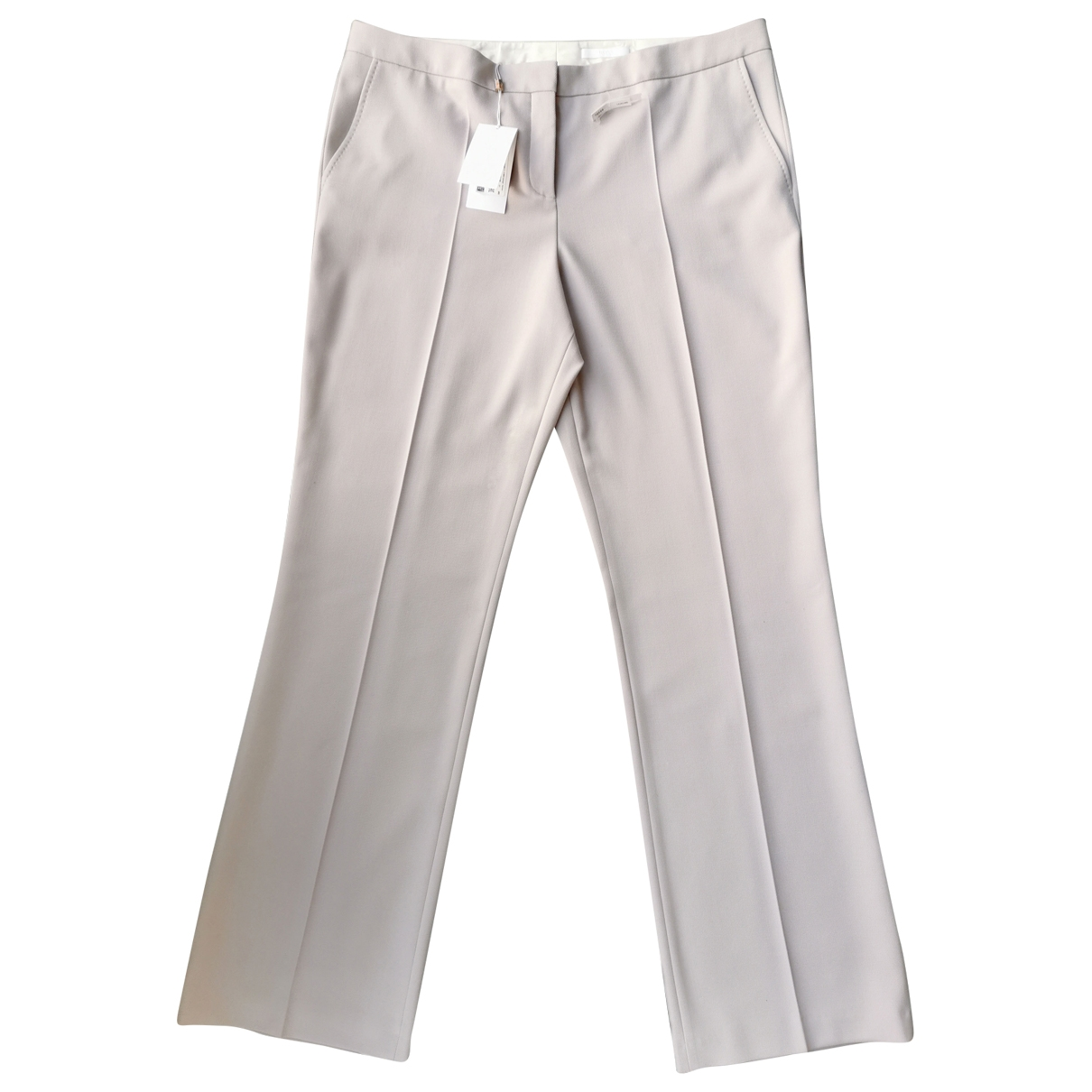 Boss \N Ecru Wool Trousers for Women 48 FR