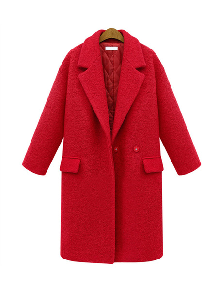 Milanoo Outerwear For Woman Turndown Collar Pockets Red Maxi Coat Winter Coat
