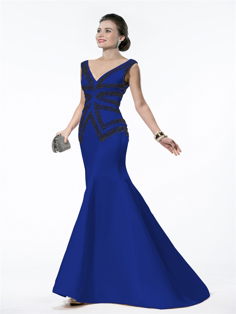 Elegant V-Neck Mermaid Evening Dress With Beadings