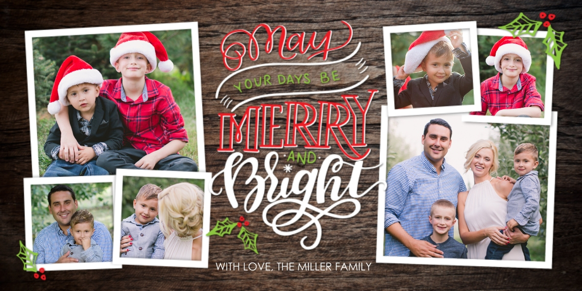 Christmas Photo Cards Flat Matte Photo Paper Cards with Envelopes, 4x8, Card & Stationery -Christmas Merry Bright
