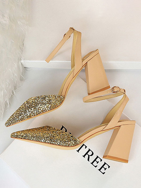 Milanoo Women Sandals Chunky Heel Elegant Strap Adjustable Sandals Pointed Toe Light Gold Ankle Straps Sexy Shoes