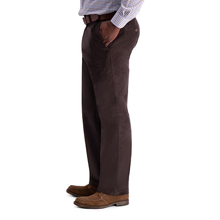 Haggar Stretch Corduroy Classic Fit Flat Front Pant, 32 32, Brown