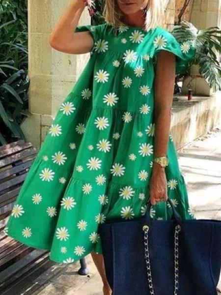 Milanoo Vestidos rectos Rosa Joya Cuello Poliester Capas Estampado floral Fantastico Vestido de tunica