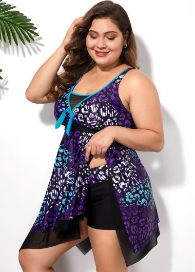 Women'S Multi Color Printed Plus Size Swimdress Swimsuit Strappy Two Piece Asymmetric Hem Padded Wire Free Bathing Suit And Shorts By - 20W