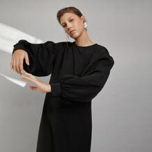 Drop Shoulder Lantern Sleeve Jersey Dress