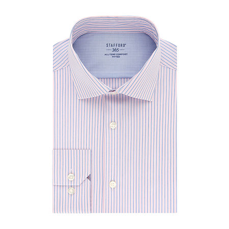 Stafford Mens Wrinkle Free 365 All-Temp Flex Collar Big and Tall Dress Shirt, 18.5 34-35, Pink