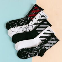 5pairs Men Striped Pattern Socks