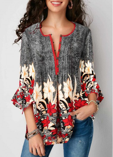 Printed Three Quarter Sleeve Button Up Pleated Blouse - XL