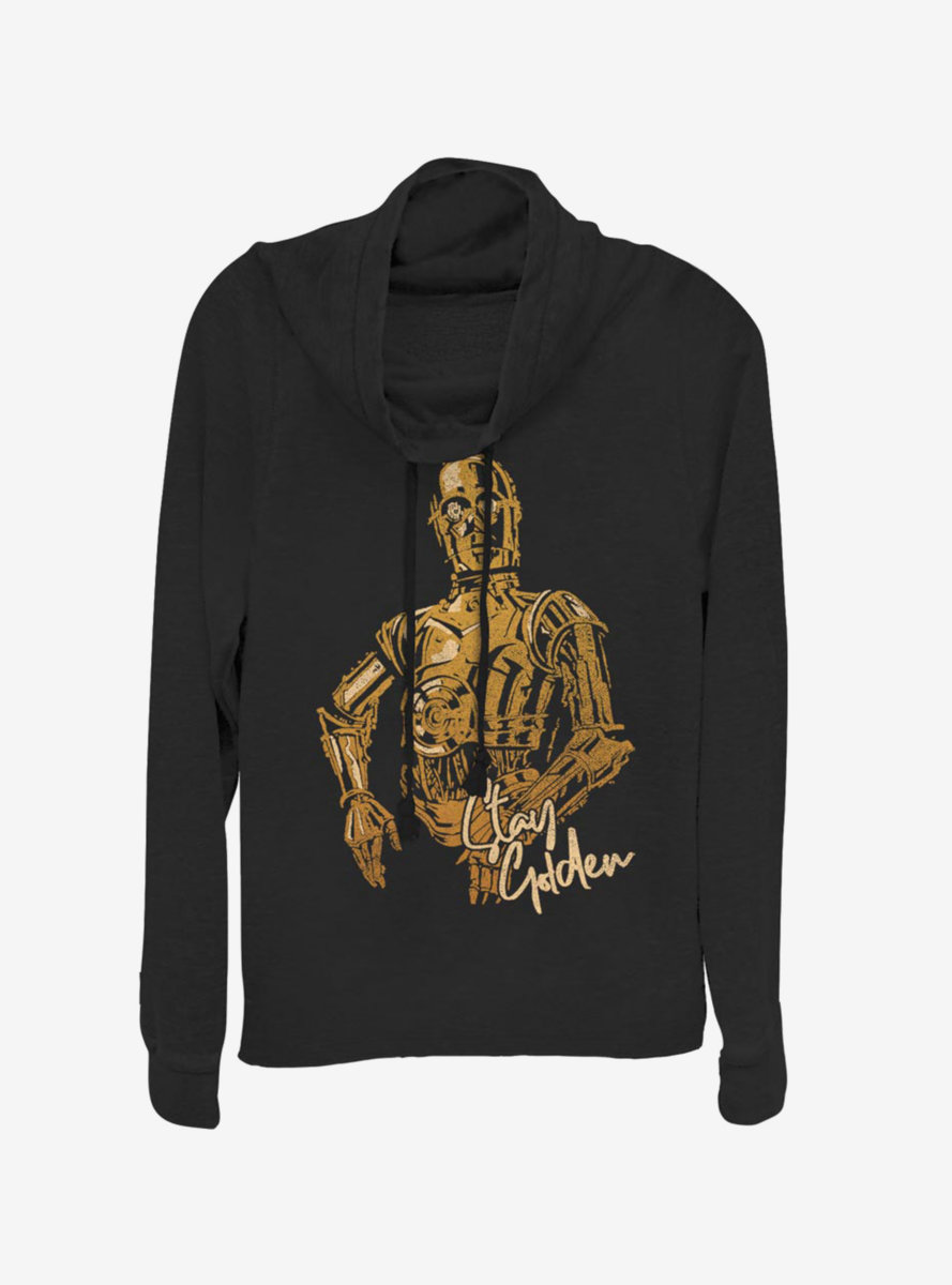 Star Wars Episode IX The Rise Of Skywalker C3PO Stay Golden Cowlneck Long-Sleeve Womens Top